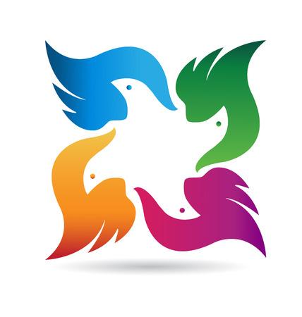 Birds abstract team identity card icon Vector
