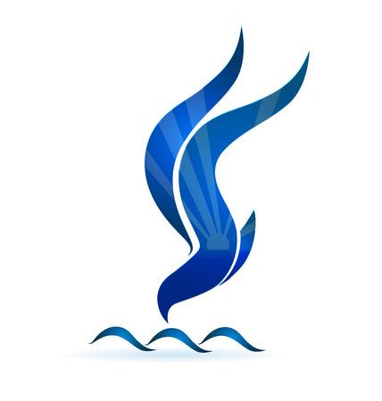 gaviota: Sol pájaro azul y olas icono de diseño del logotipo