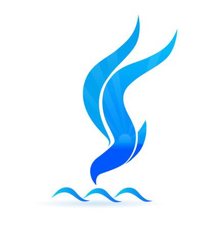青い鳥太陽と波アイコン ビジネス id カード  イラスト・ベクター素材