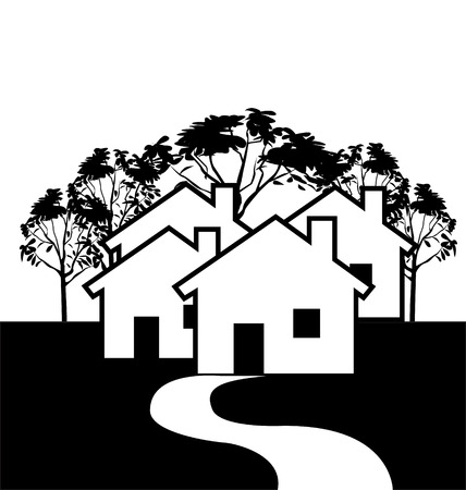 Houses in black and white icon background Vector