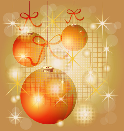 Christmas balls in gold background with sparkles lights Vector