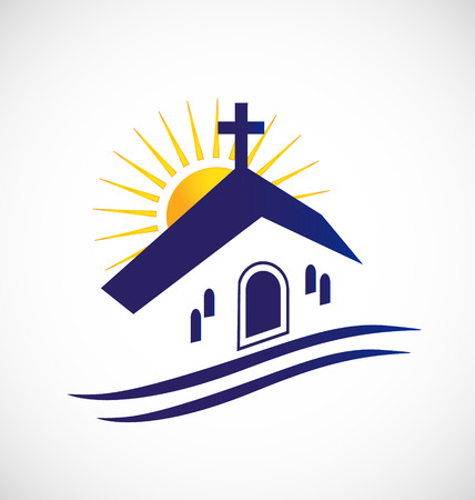 blue church: Church with sun icon graphic image