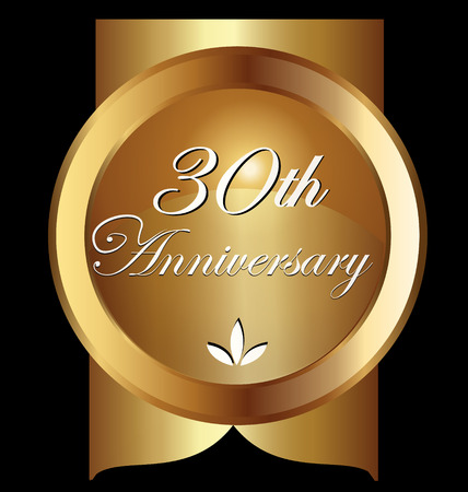 the 30: 30 years anniversary greeting card. Gold Vector design
