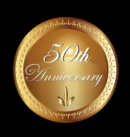 50 years anniversary greeting card. Gold vector  design Çizim