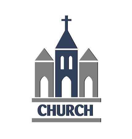familia en la iglesia: Iglesia icono de imagen vectorial