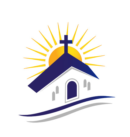 Iglesia con el sol icono