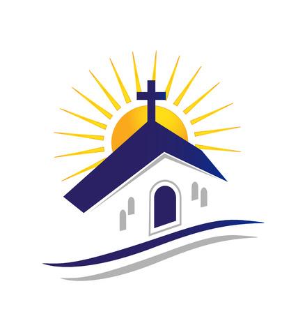 Kerk met zon icoon Stock Illustratie