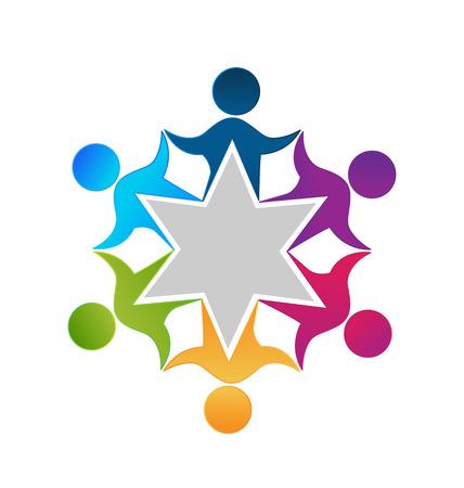 regenbogen: Teamwork eenheid werknemers mensen logo ontwerp vector Stock Illustratie