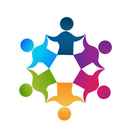 studying: Teamwork unity workers people logo design vector