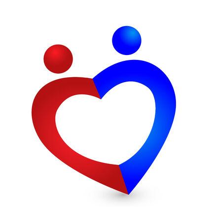Couple love heart symbol logo vector icon Vector