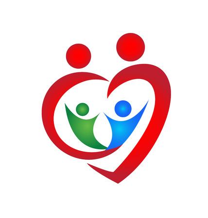 Family symbol heart shape design template Vector