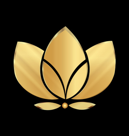 Lotus gold flower icon vector design