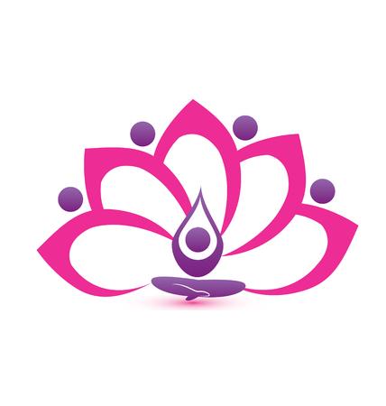 pink flower: Lotus pink flower symbol design Illustration