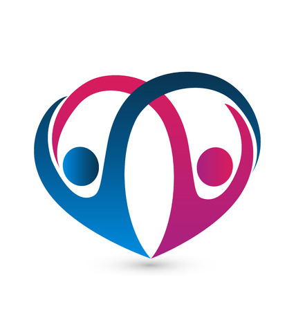 gönüllü: Bir çift ile kalp şekli grafik tasarım sanatı rakamlar Çizim