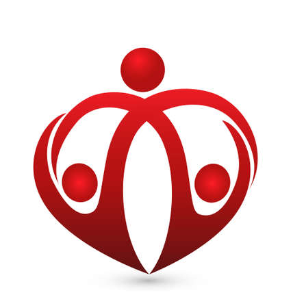 Family care symbol heart shape design template Vector