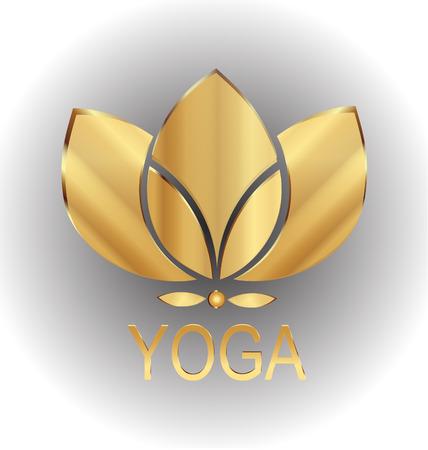 lotus pattern: Lotus gold flower icon vector logo design