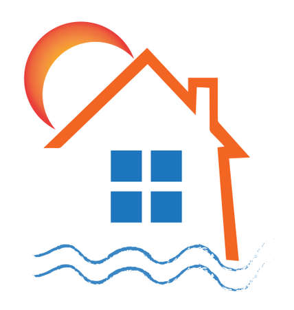 modern house: Real estate house sun and waves design icon vector Illustration