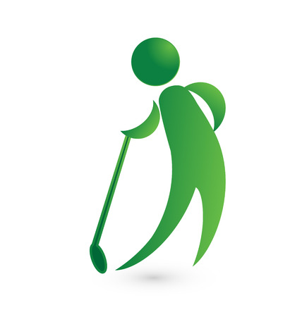 iron fun: Golf player green figure image vector icon