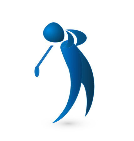 Golf player blue figure image vector icon Vector