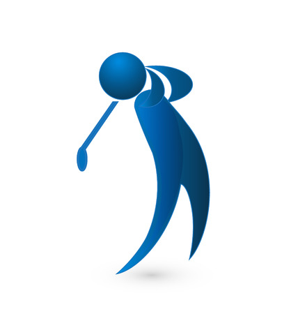 team sports: Golf player blue figure graphic image vector icon