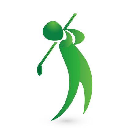 Golf speler groene figuur afbeelding vector icon