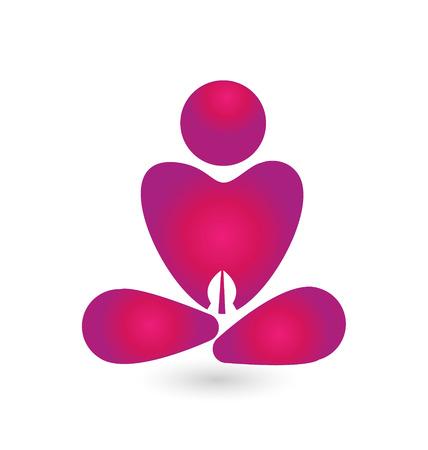 Yoga pink icon vector design Illustration