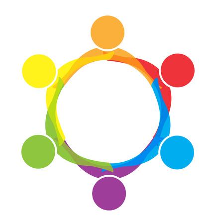 logos empresa: Trabajo en equipo abrazando a la gente en logotipo de la empresa vector