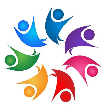 Teamwork gezonde mensen in het bedrijfsleven logo vector