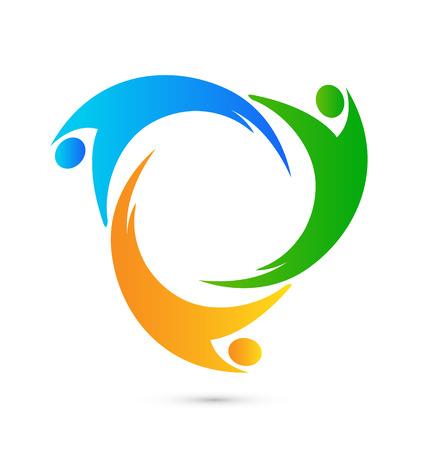 Teamwork eenheid mensen logo bedrijfsleven pictogram vector