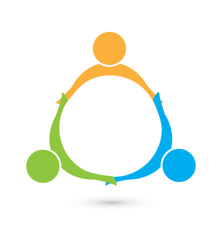 teamwork: Teamwork holding hands people logo business icon vector Illustration