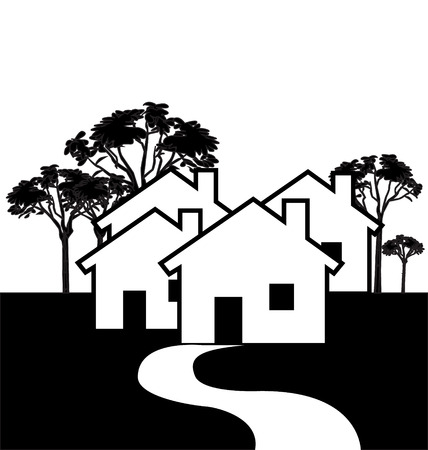 Houses black icon logotype design Vector