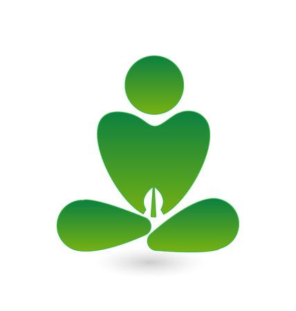 Yoga heart icon vector design