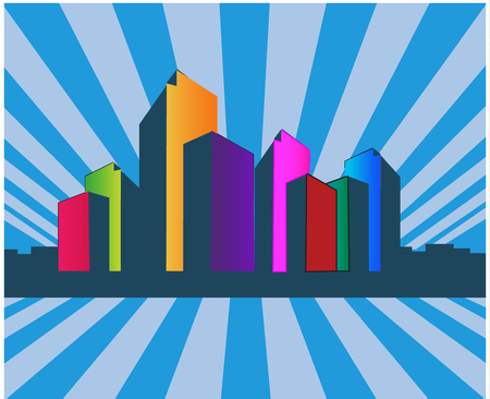 Vector of Modern city buildings skyline colorful template logotype design Vector