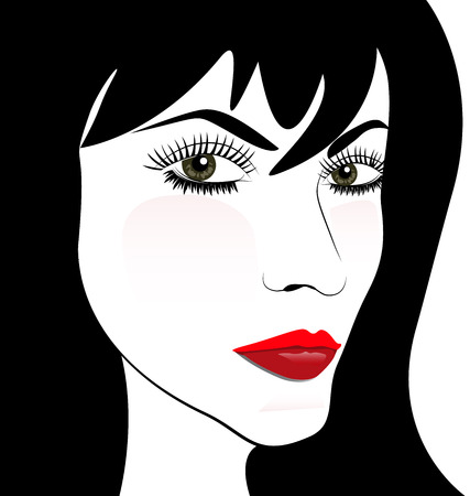Woman face vector portrait. Beautiful fashion girl Vector