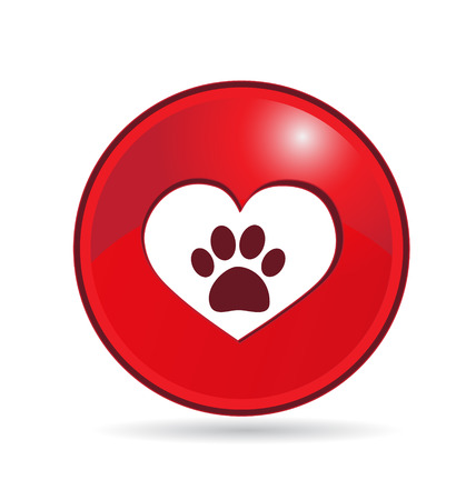 Love Paw Print shiny icon logo button Vector