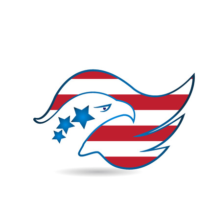 red and blue: American Eagle Flag logo design