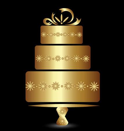 Cake gouden logo ontwerp voor het vieren verjaardag of bruiloft vector illustratie Stock Illustratie