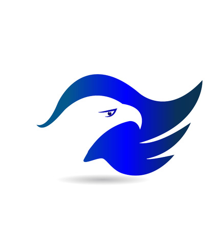 eagle flying: American Eagle blue wings vector icon