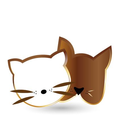 drawing an animal: Gatto e teste di cane sagome in oro disegno vettoriale icona Vettoriali