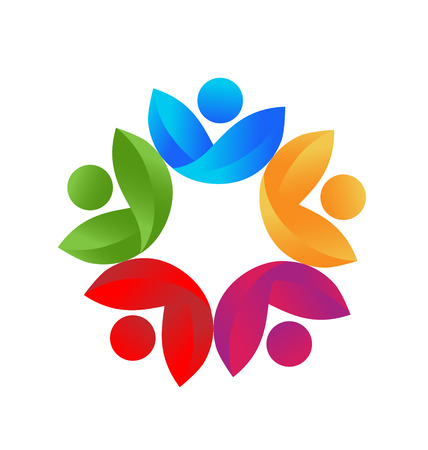 energy healing: Health nature colorful  teamwork icon vector Illustration