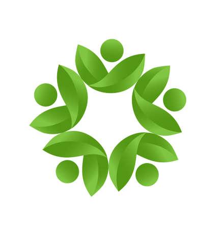 Health nature green teamwork icon vector Illustration