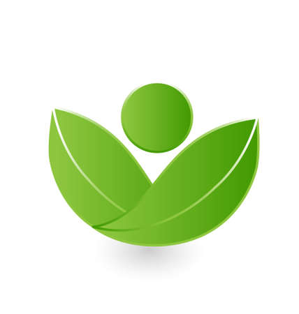 Health nature green leafs icon vector