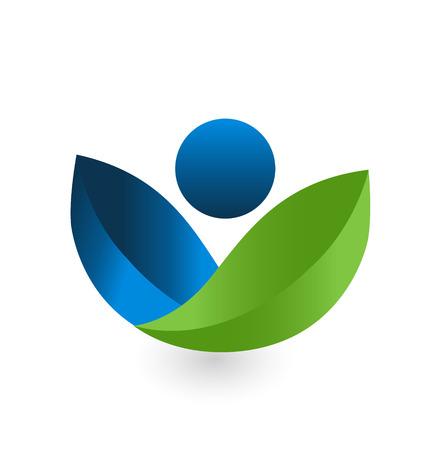 治癒: 健康自然の緑と青のアイコン ベクトルします。  イラスト・ベクター素材