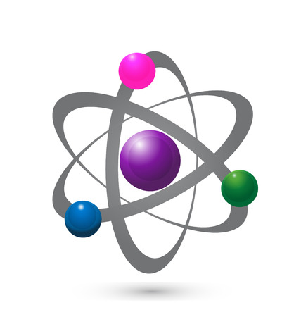Vector of atom molecular electron graphic icon Ilustrace