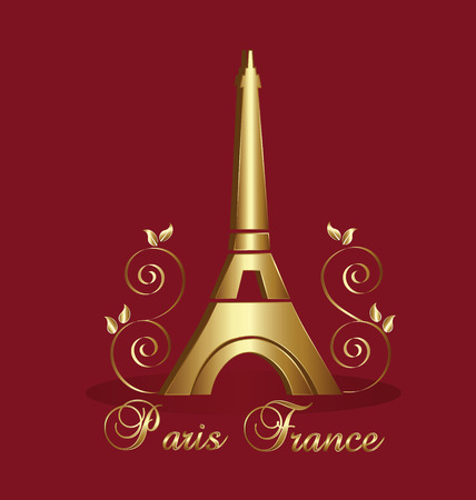 social history: Eiffel Tower Paris-France vector background