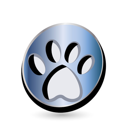 Blue dog footprint vector logo icon Vector