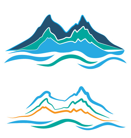 Set of stylized illustration alpine landscape with snowy   mountains Vector