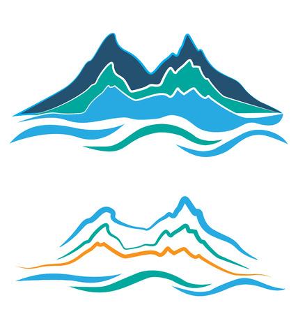 Set van gestileerde illustratie alpine landschap met besneeuwde bergen