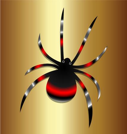 spidery: Black Widow spider vintage background vector Illustration