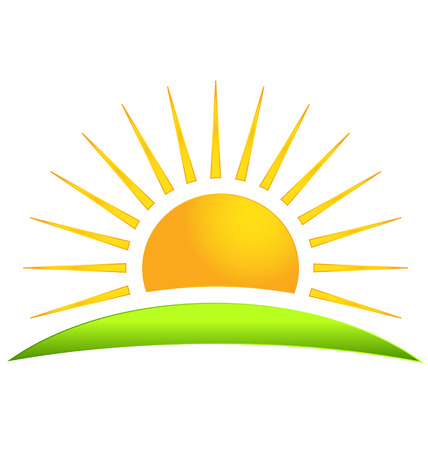 sun: Green hill with sun logo vector icon